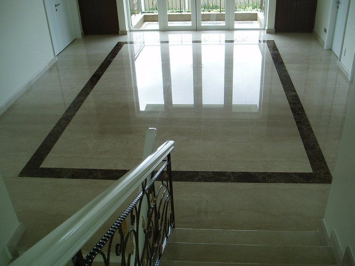 Marble Floor With Black Granite Border