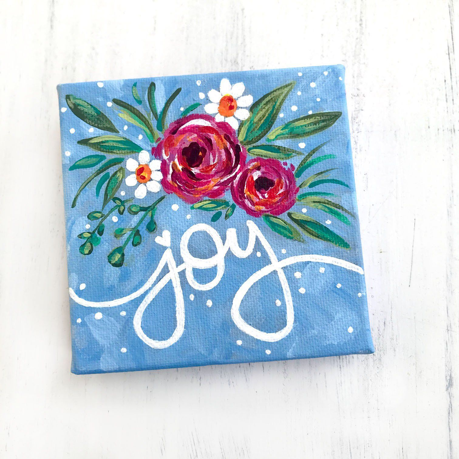 4x4 on Canvas Mini Abstract Flower Mixed Media Painting