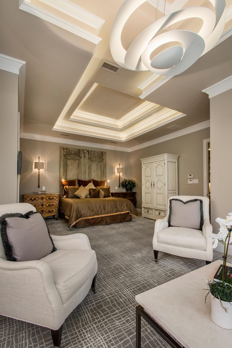 The tray ceiling was given a touch of class with LED strip