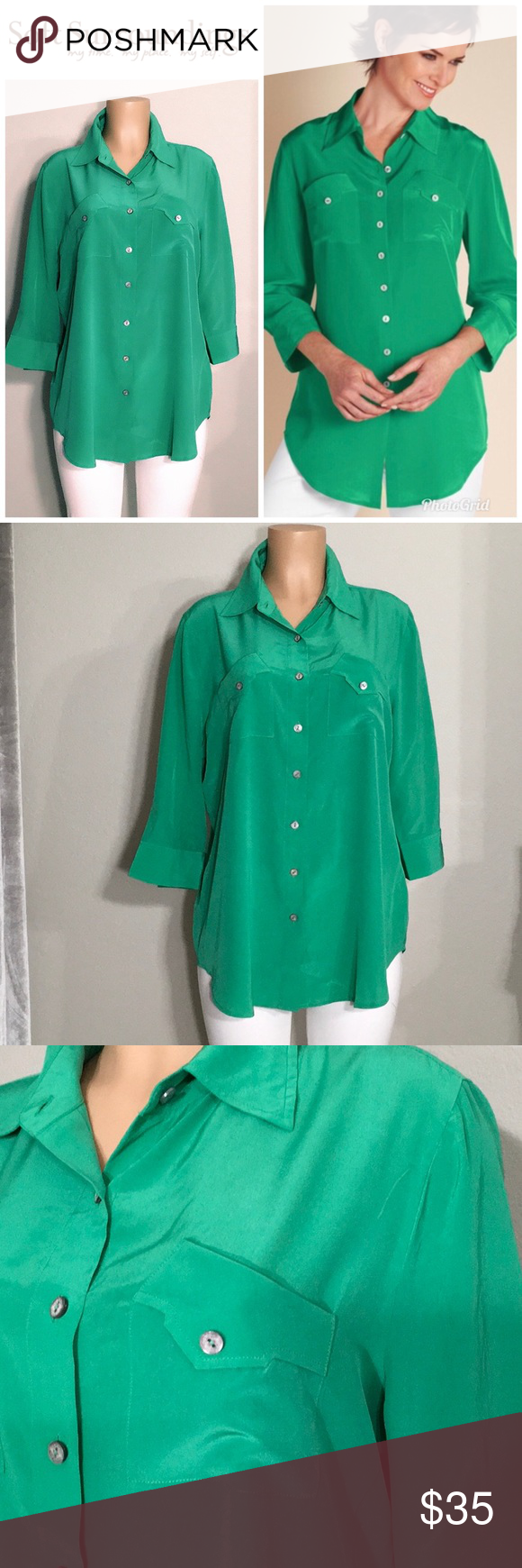 Soft Surroundings Green Silk Top Nwot Runs Large This Would Easily Fit