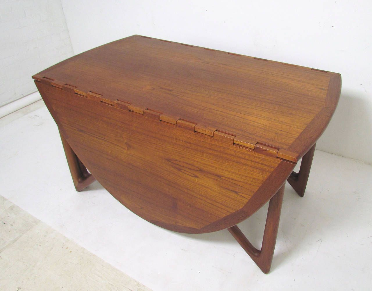 danish teak gate leg drop leaf oval dining table by kurt ostervig - Scandinavian Teak Dining Room Furniture