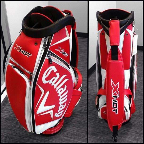 Sneak peek: New all red X Hot Staff Bag spotted at Callaway HQ. #Golf