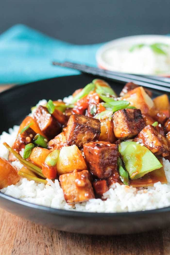 Pineapple Stir Fry with Baked Tofu