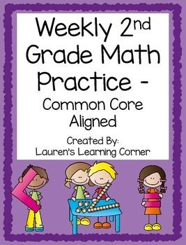 This set includes 40 math practice activities  enough to use 1 each week of the school year!  The activities are aligned to the skills and concepts addressed in the 2nd grade math common core learning standards.  The activities can be used as an assessment, review, independent practice, group work, morning work, or to reteach or extend skills depending on students ability levels.