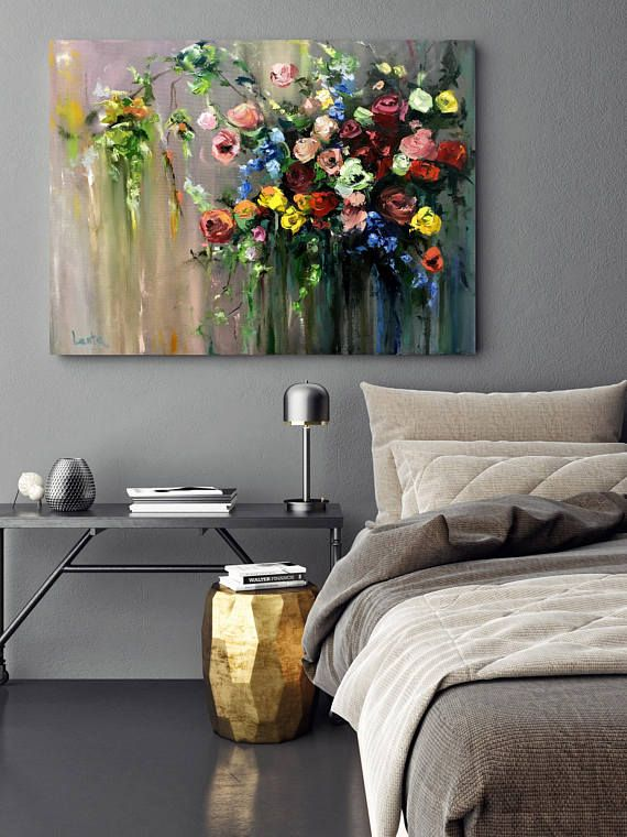 Handgemachtes Ölgemälde Druck, Blumendruck, Druck Leinwand Kunst, Kunst, Original, von Hand bemalt, Geschenk, Wand-Kunst, Ölgemälde #painting