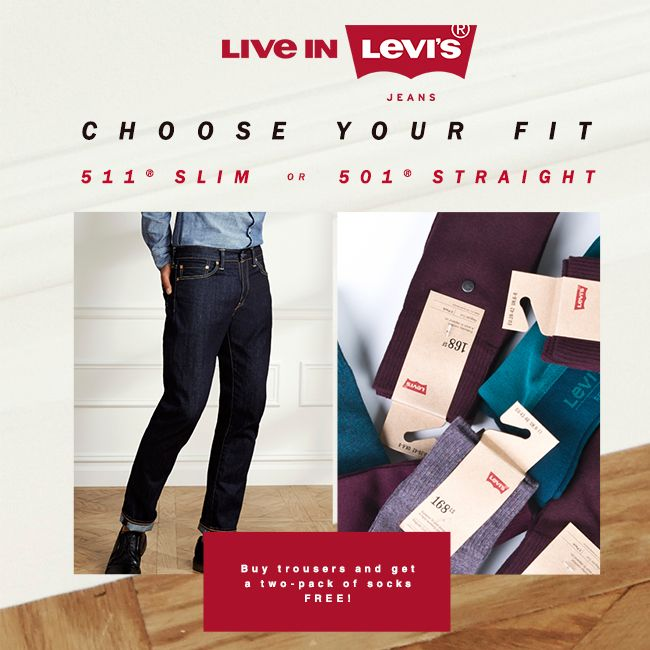 Choose your #fit #511 #501  Buy #trousers and get a #twopack of #socks #free #promotion