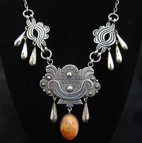 Early Taxco 980 Silver Mexican Fire Opals Necklace Earrings Mexican Silver Jewelry Fire Opal Necklace Taxco Silver Jewelry