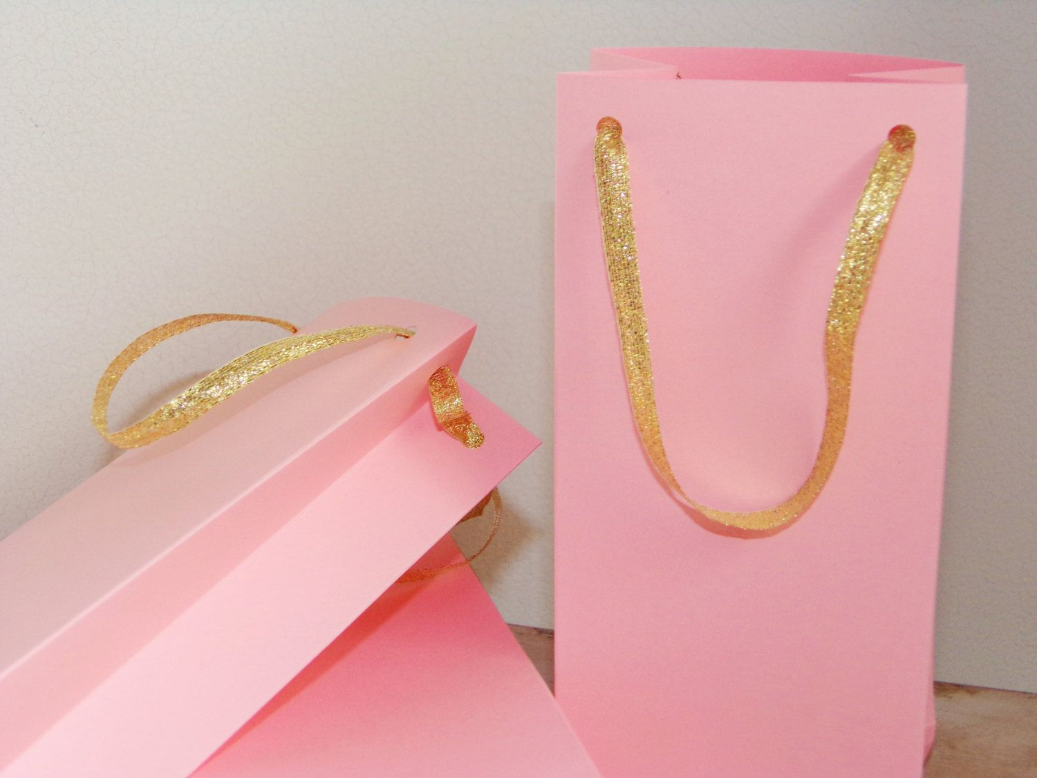 Pink and Gold favor bag, 8 SMALL paper bags - 7 1/4 \