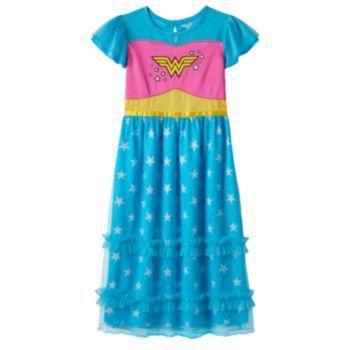 2ebac6f499929 DC Comics Wonder Woman Glitter Star Dress-Up Nightgown - Girls 4-8 ...