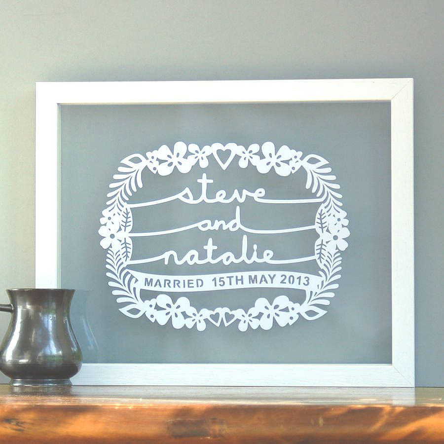 Wedding Gifts Images: Personalised Wedding Gift Papercut Wall Art