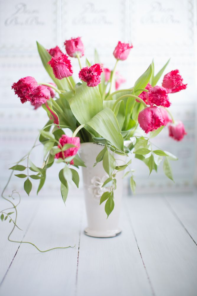 Frizzle tulips in one of my favorite vases
