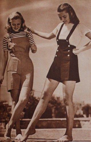 "More from Vintage Dancer: http://www.vintagedancer.com/1940s/1940s-playsuits-rompers/  ""1944 short Overalls and Jumper Playsuits"""