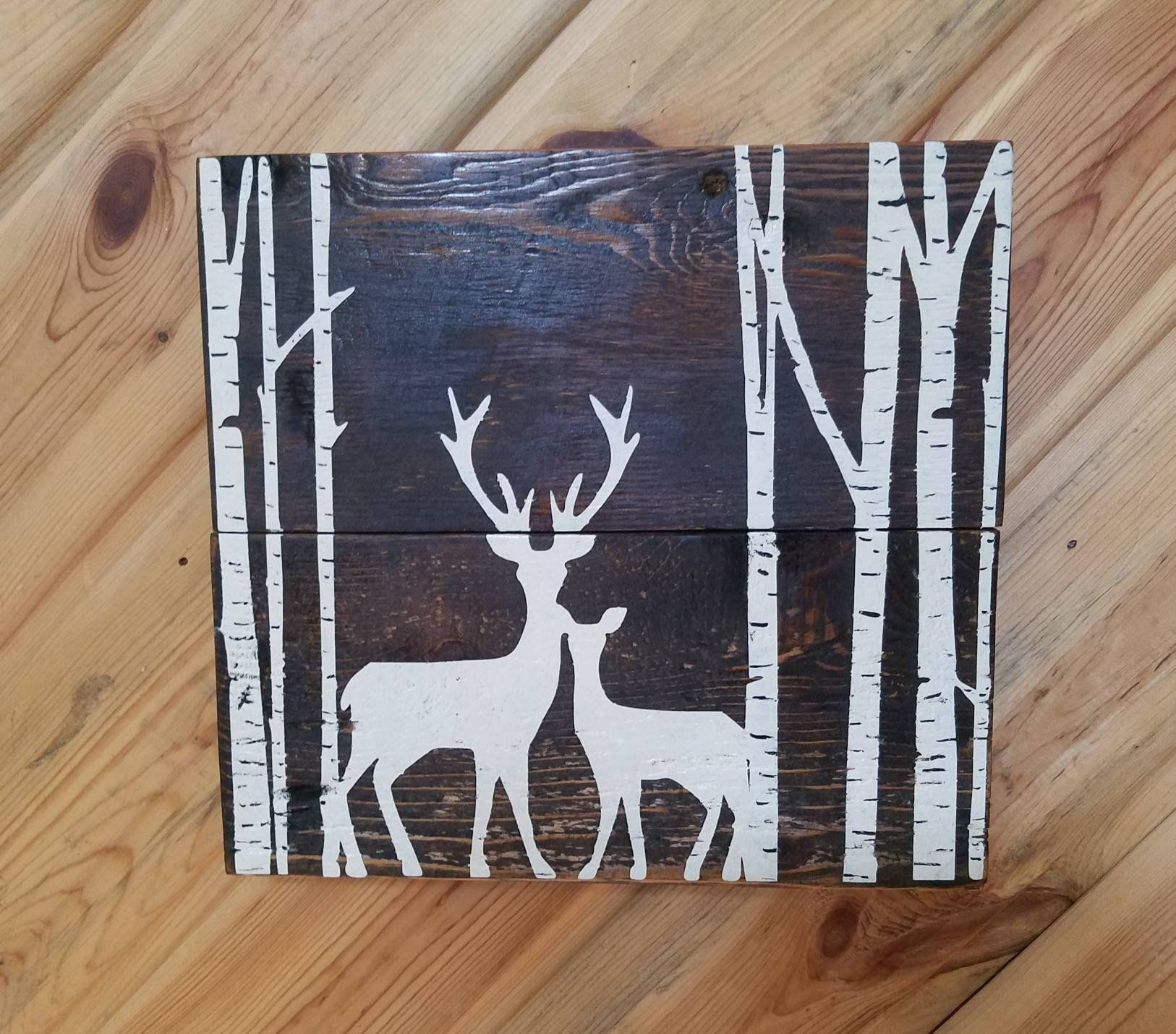 Buck and Doe deer in the trees wood sign, love deer,stained and painted on barn wood wall hanging, home decor, winter decor, Christmas decor