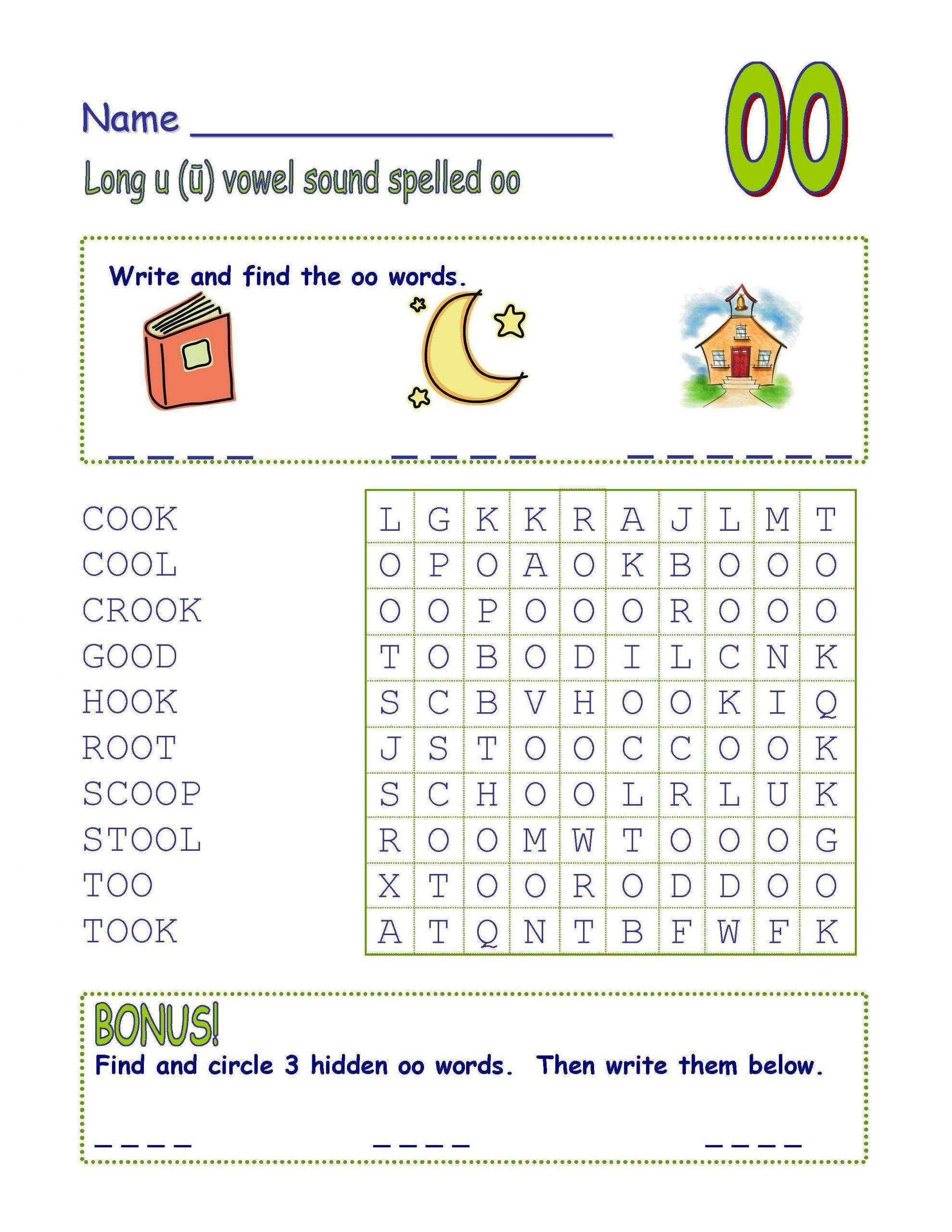 """5 Long Vowel U Words Worksheet mon Core Digraph Long Vowel """"u"""" Spelled """"oo&quo"""