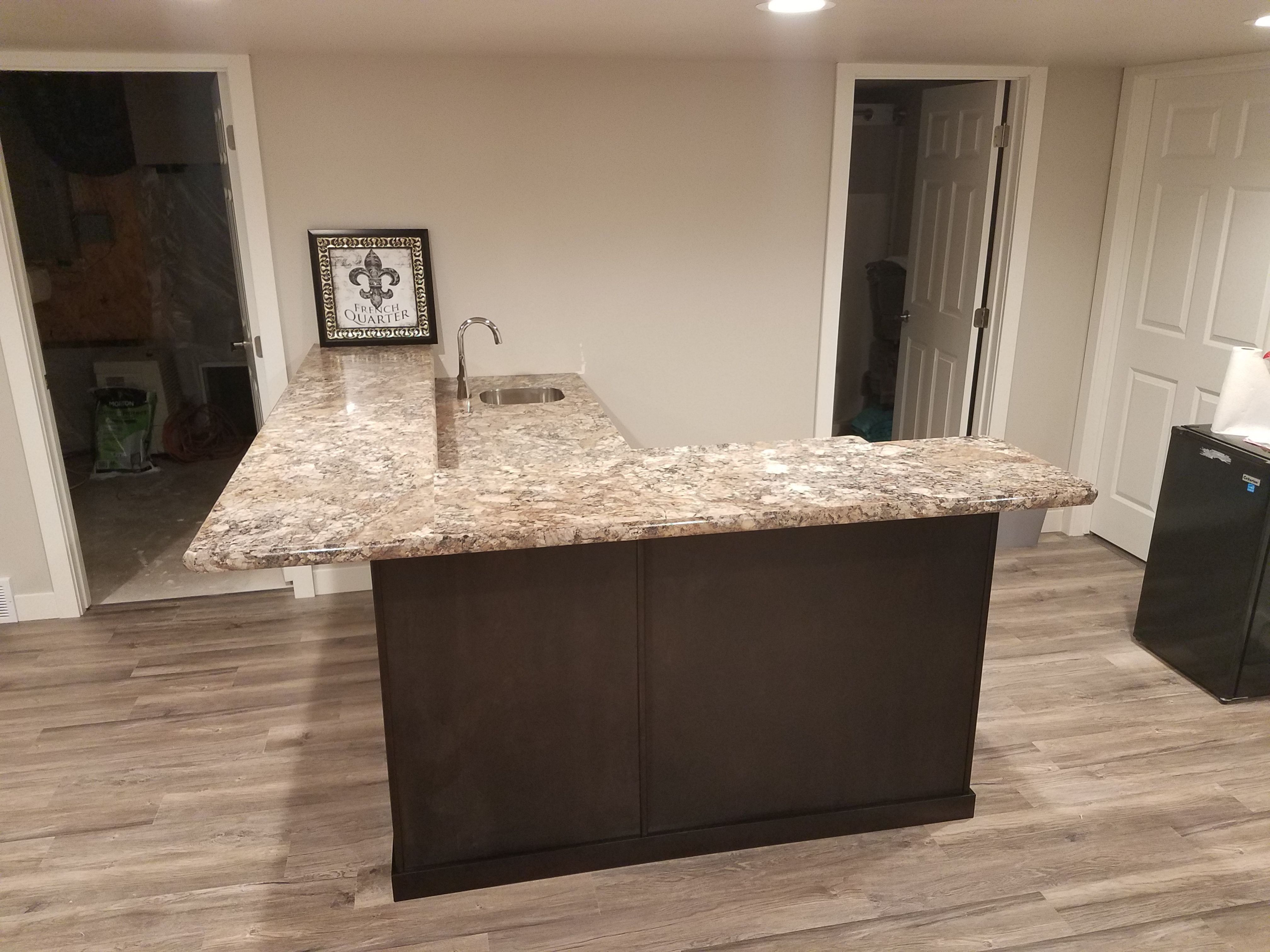 Espresso Cabinets With Winter Carnival Laminate Countertops