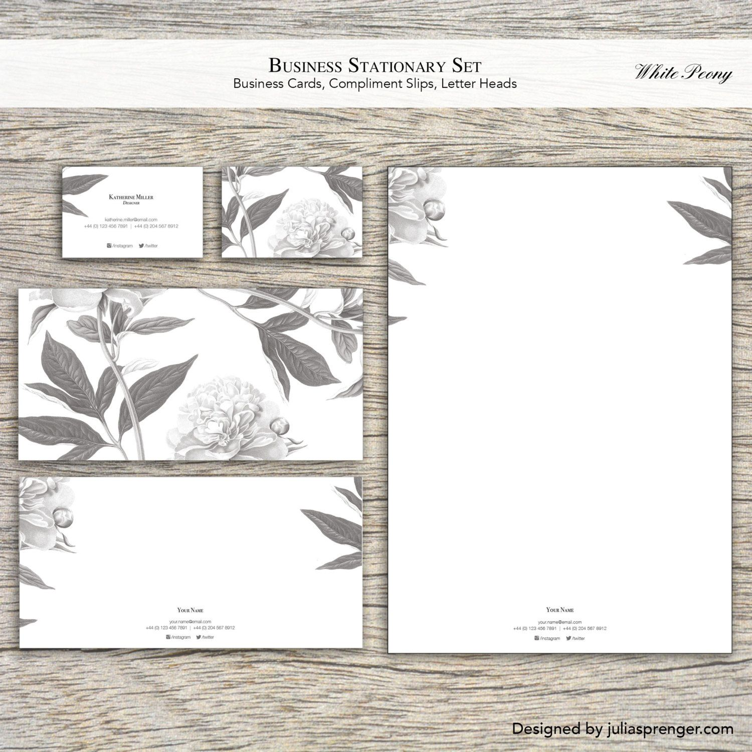 Stationary Set (100 Business Cards, 100 Letter Heads, 100 Compliment ...