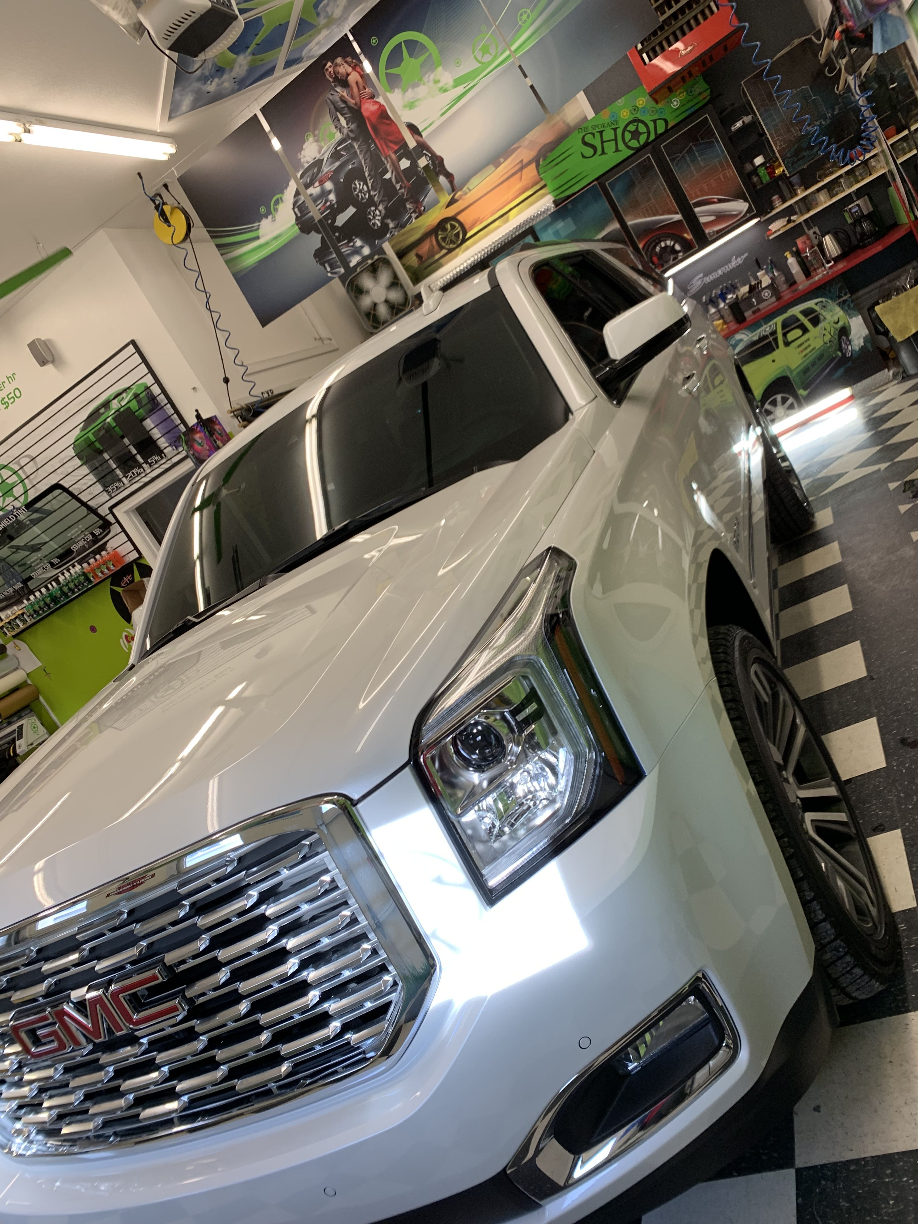 This Beautiful 2019 Yukon Denali Got The Two Front Windows Done To Match The Factory Tint In The Back Also Nick Windshield Tinting Yukon Denali Tinted Windows