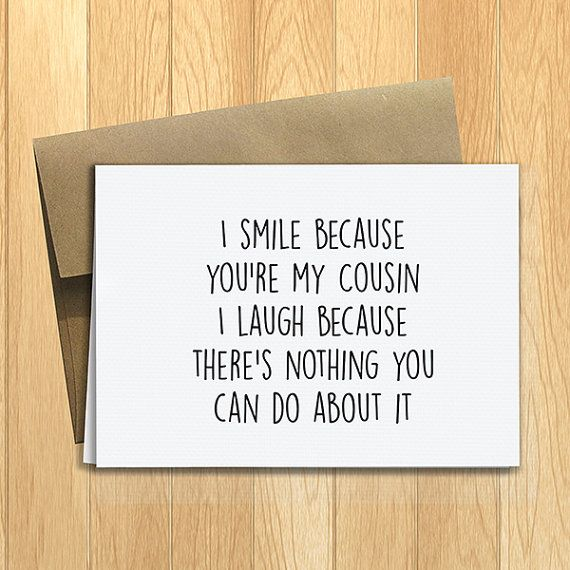 Printed Funny Cousins Greeting Card Friendship By Designslm