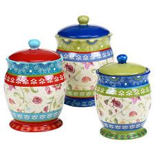Colorful Kitchen Canister Set Floral Ceramic Hand Painted Food