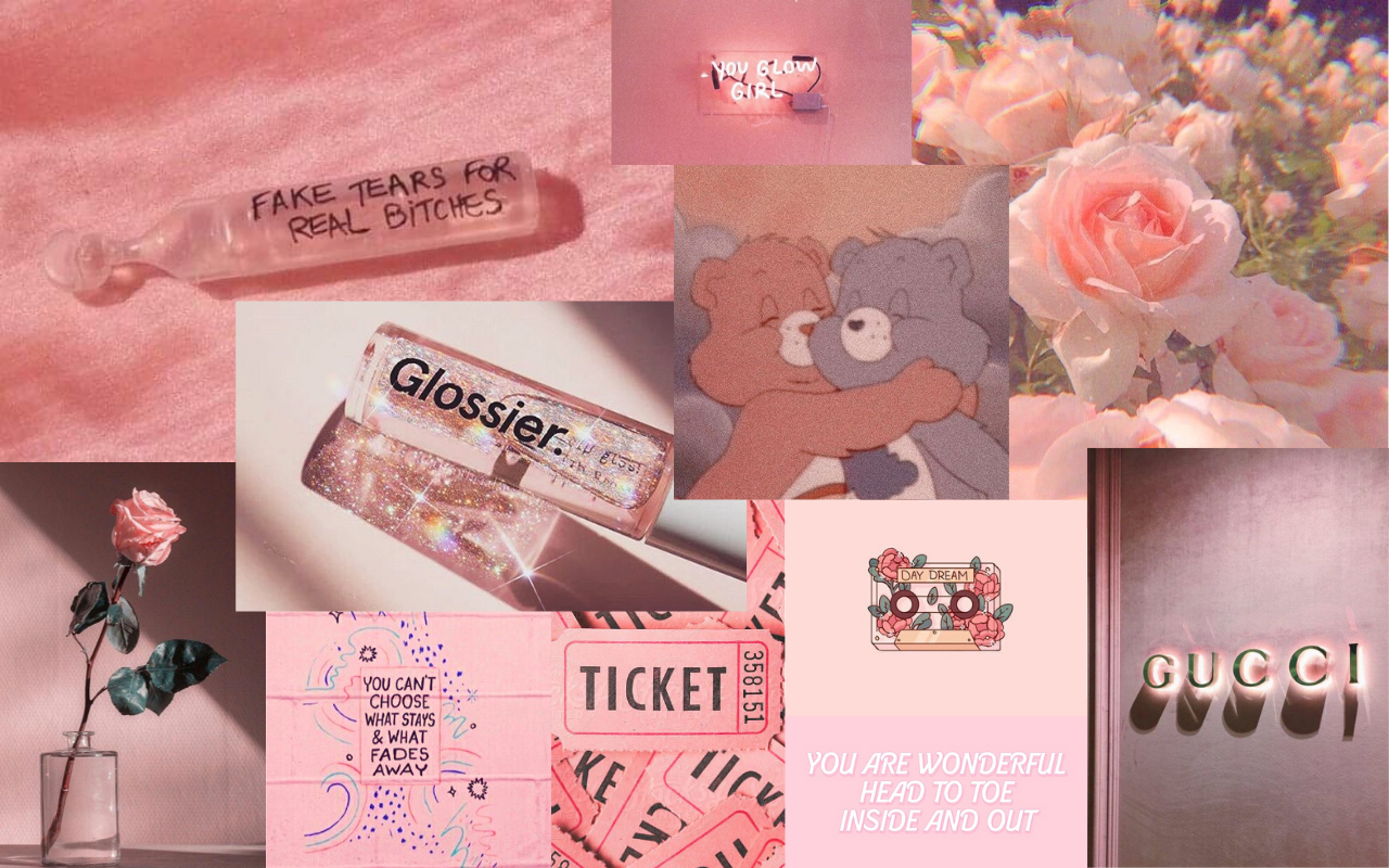 Aesthetic Pink Background Laptop
