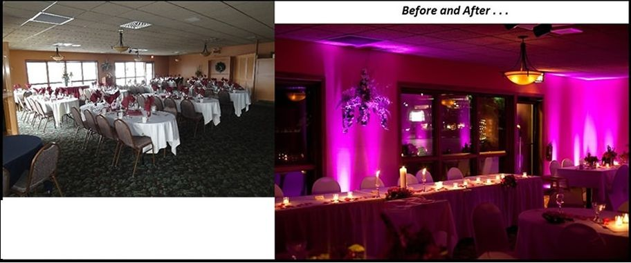 Uplighting Before And After DIY Wedding