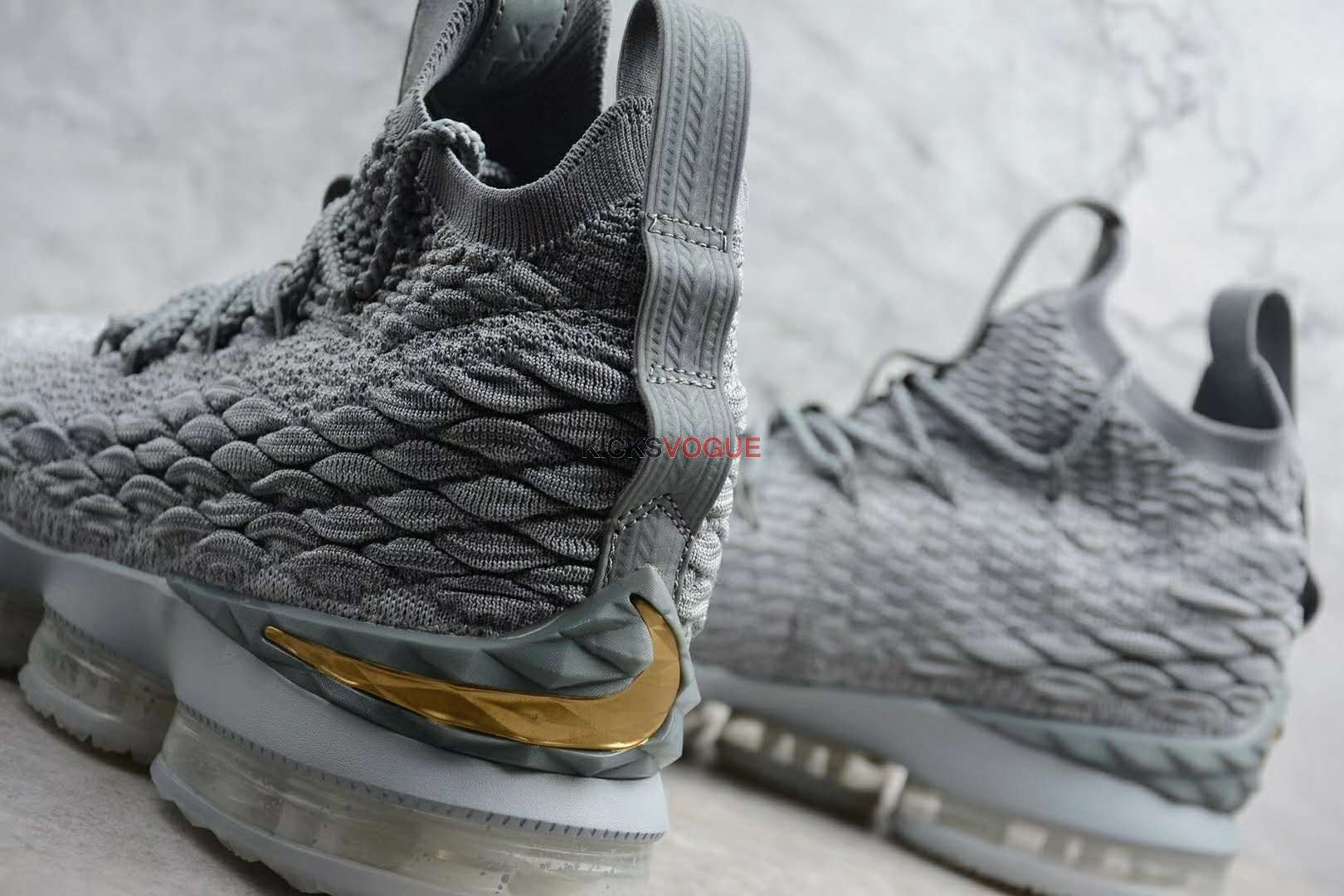 504b57b5f7f8 Nike LeBron 15 City Edition Grey Gold 897648-005