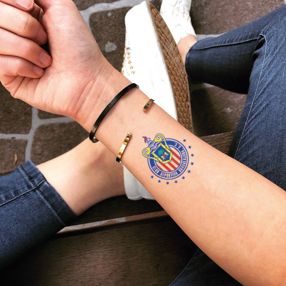 c49cf1b99eecb Chivas de Guadalajara Temporary Tattoo | Soccer Team LOGO Tattoo Sticker |  Wrist Waterproof Removable Transfer Stick On Tattoo