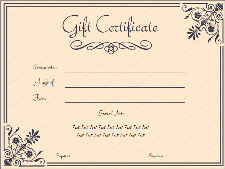 Editable Gift Certificate Template  Business Certificates Templates