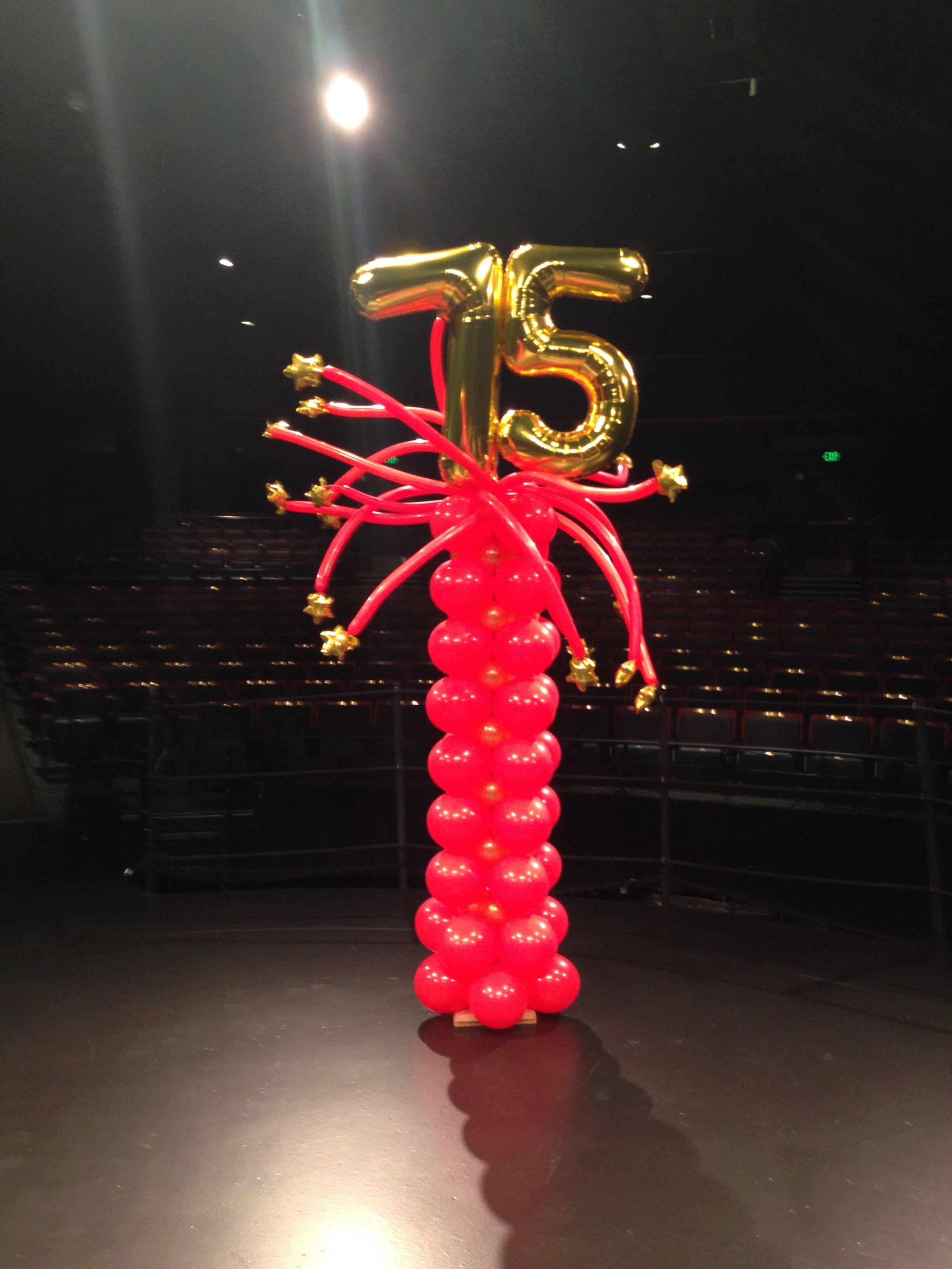 Balloon pillars for a 75th anniversary event balloon