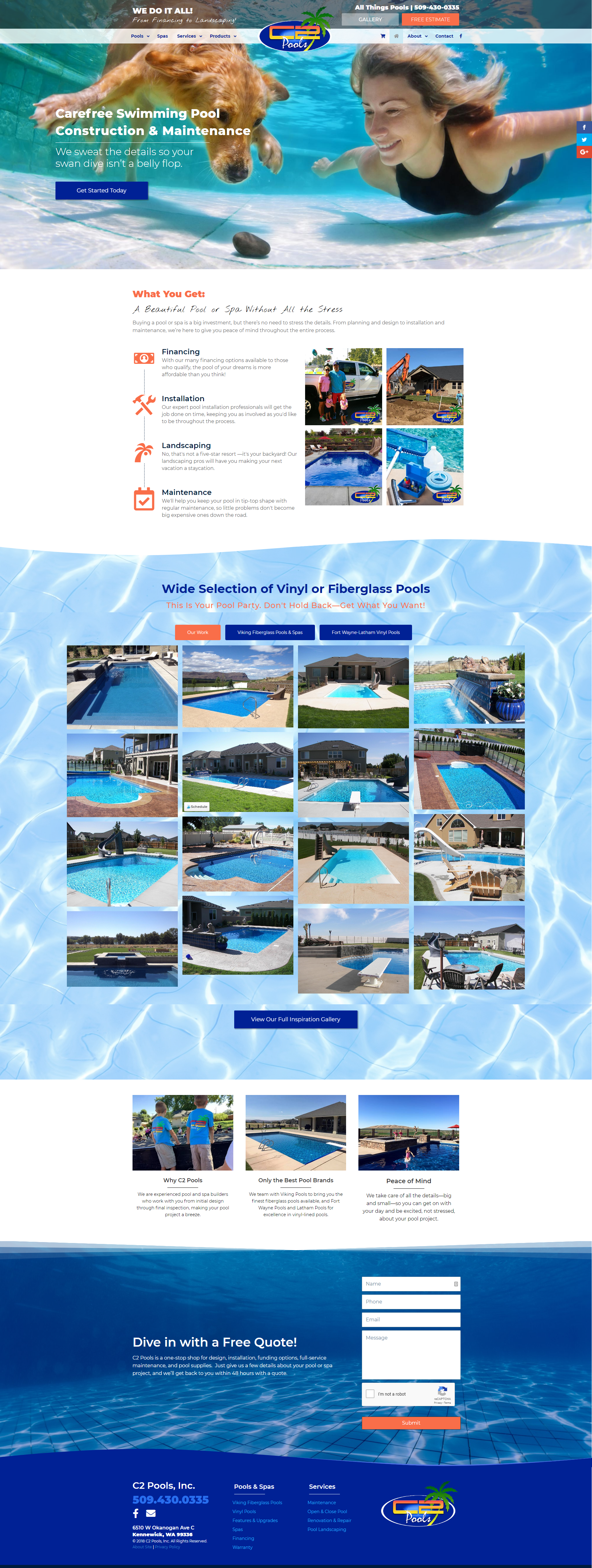 Construction Pools Website Design In 2020 Digital Marketing Design Portfolio Web Design Marketing Design
