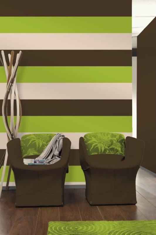 Green And Brown Living Room Decor: Olivia Lime Green/ Chocolate Brown Stripe Wallpaper E40904