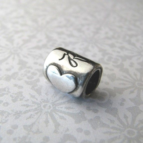 Personalized Bead, Artisan PMC Fine Silver with Heart and Custom Engraving, Handmade Pandora Style, Precious Metal Clay