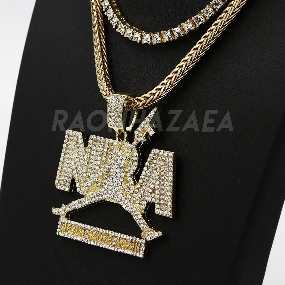 Hip Hop Iced Out Never Broke Again Exclusive Pendant W