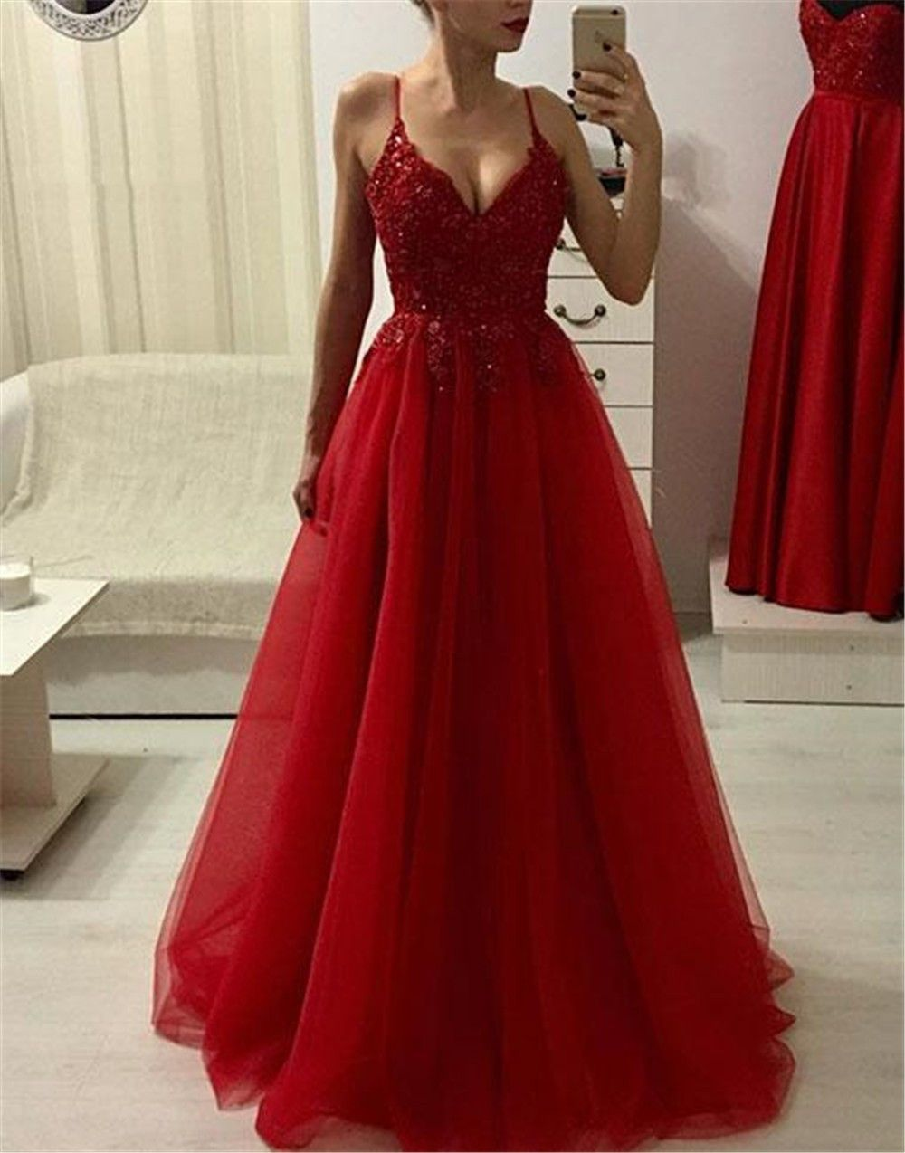 Red Spaghetti Straps A-Line Prom Dress with Appliques&Beads