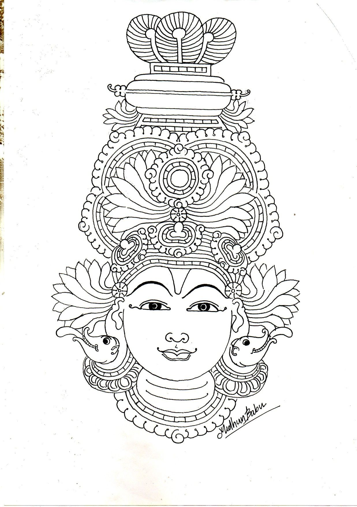 A very simple mural drawing keralamural art artist diy