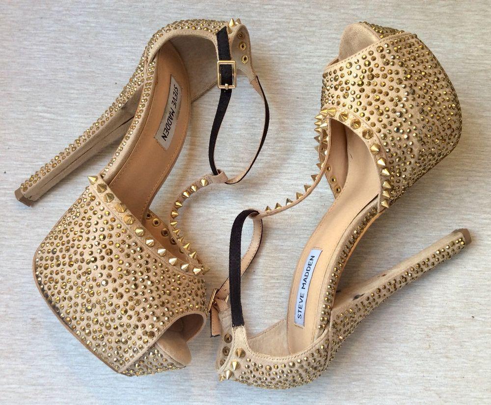 af4d1446bb75 STEVE MADDEN Platform Gold Sandals Size 8 ANGEL Z Studs Crystals Beige  Shoes  SteveMadden  Sandals  ClubwearPartySpecialOccasion