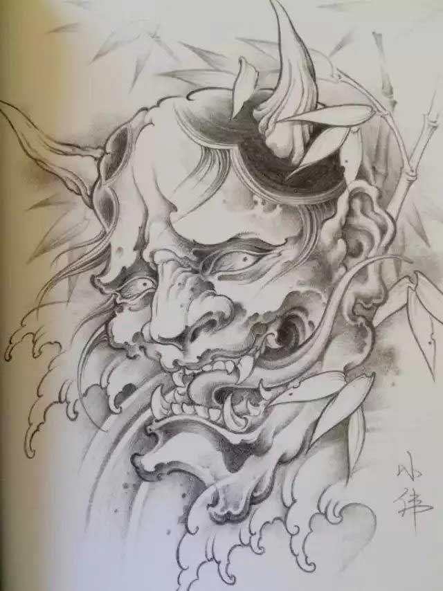 e99ba02b22f3e Картинки по запросу hannya mask drawing Oni Mask, Mask Drawing, Japanese  Drawings, Irezumi