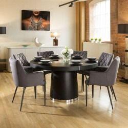 bee7e96f60753 Quatropi Large Round Black Oak Dining Set 6 Grey Carver Dining Chairs