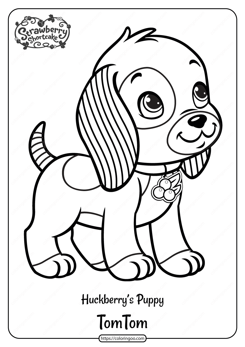 Printable Huckleberry S Puppy Tom Tom Coloring Page Puppy Coloring Pages Strawberry Shortcake Coloring Pages Cute Coloring Pages [ 1344 x 950 Pixel ]