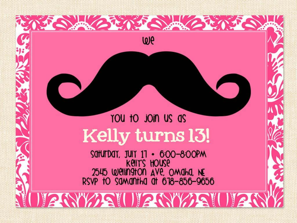 Mustache Party Invites as adorable invitations template