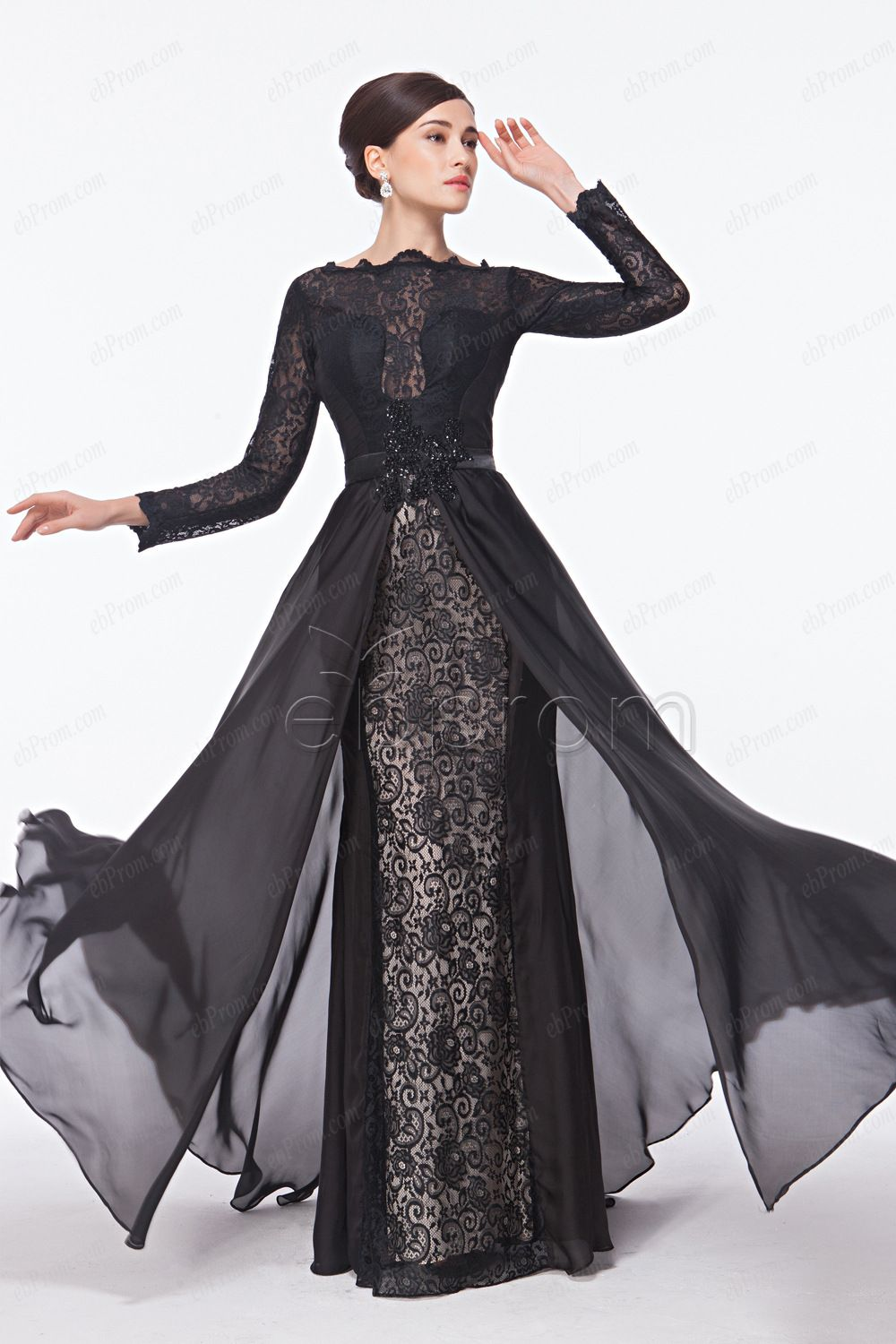 Modest long sleeve evening dresses