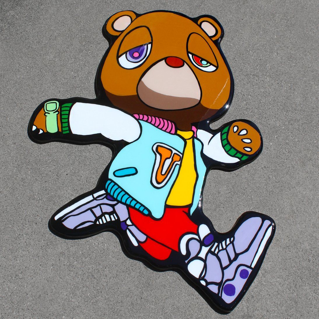 Takashi Flower Inspired Kanye West Graduation Bear Hanging Wall Art Graffiti Cartoons Kanye West Graduation Bear Bear Art