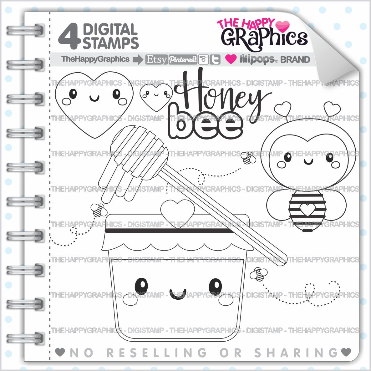 Bee Stamp 80OFF Commercial Use Digi Digital Image Honey Digistamp Cute Stamps Animal Clipart