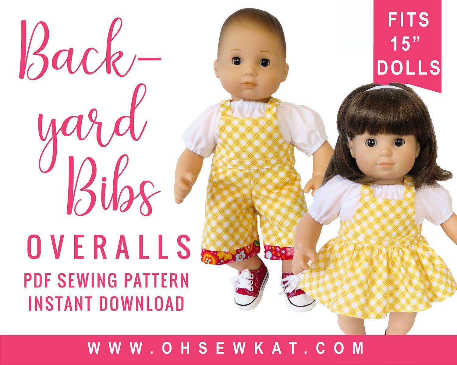 Baby Doll Clothes Sewing Pattern for 15 inch baby doll