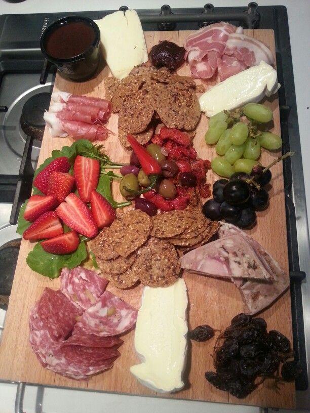 Cheese platter. Mary's gluten free crackers. Terrine etc.
