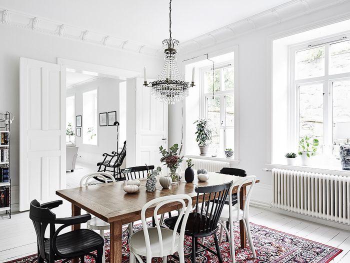 DecoraciÓn estilo nórdico en color blanco mesa salon sillas ...