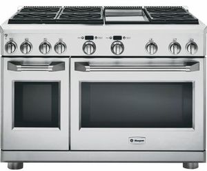"""ZDP486NDPSS GE Monogram 48"""" Dual-Fuel Pro Style Range with 6 Burners and Griddle - Natural Gas - Stainless Steel"""
