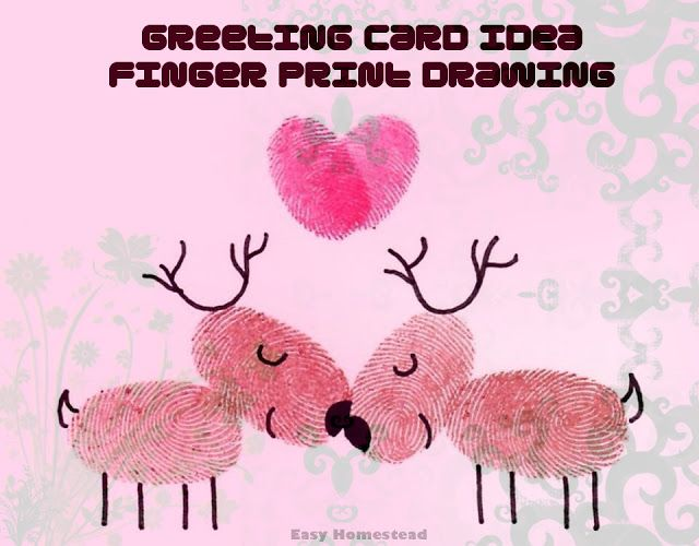 Fingerprint Drawing for Greeting Card #fingerprint #creative #greetingcard