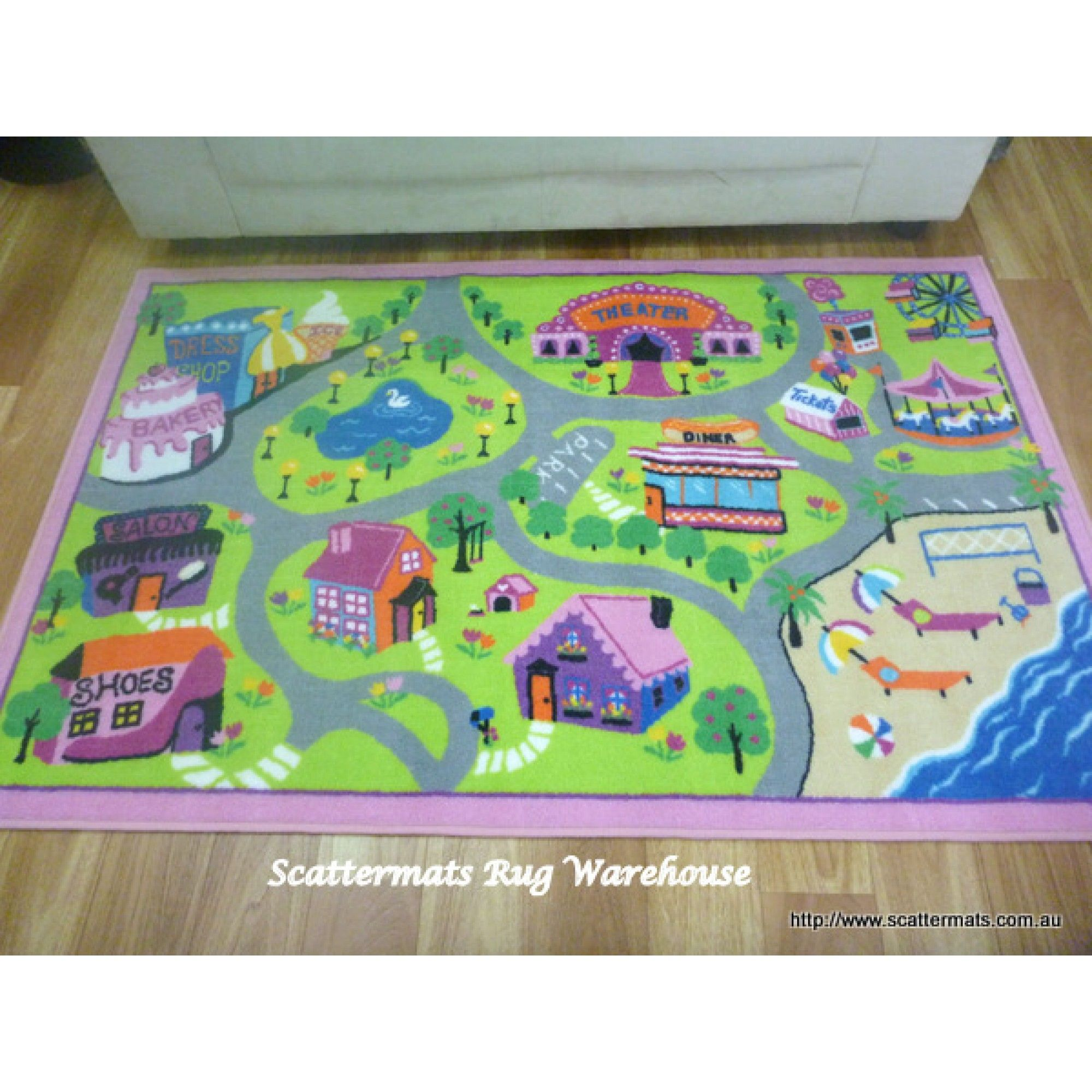 Road Rugs Track 100x150cm Girls Pink Activity Play Mats