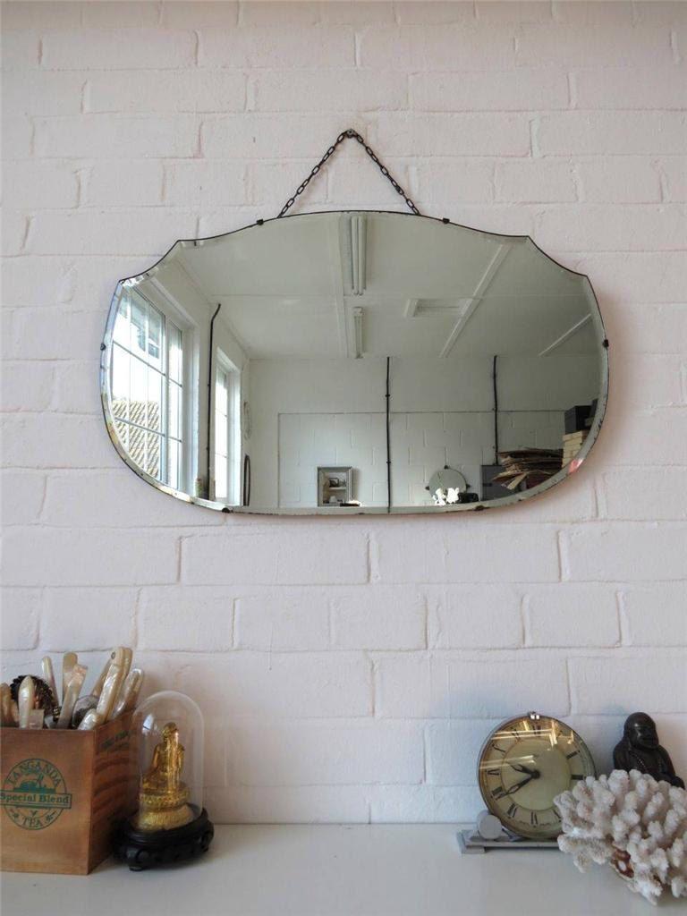 Vintage bevelled edge wall mirror art deco frameless di uulipolli